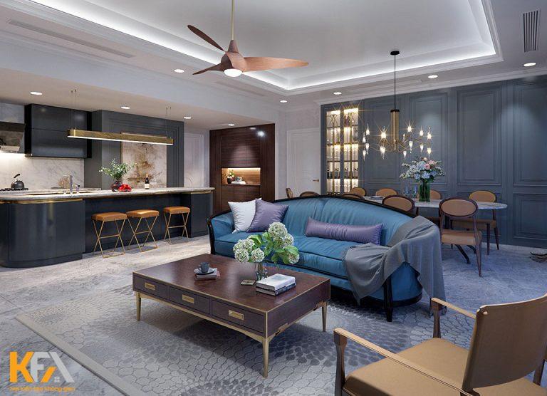 07 mẫu thiết kế nội thất phòng khách chung cư gỗ sồi Nga